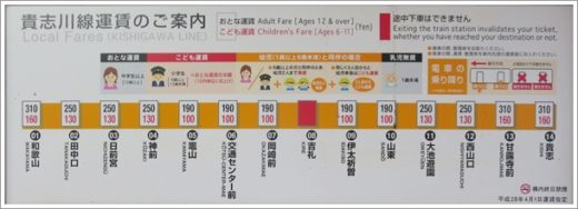 吉礼駅運賃表